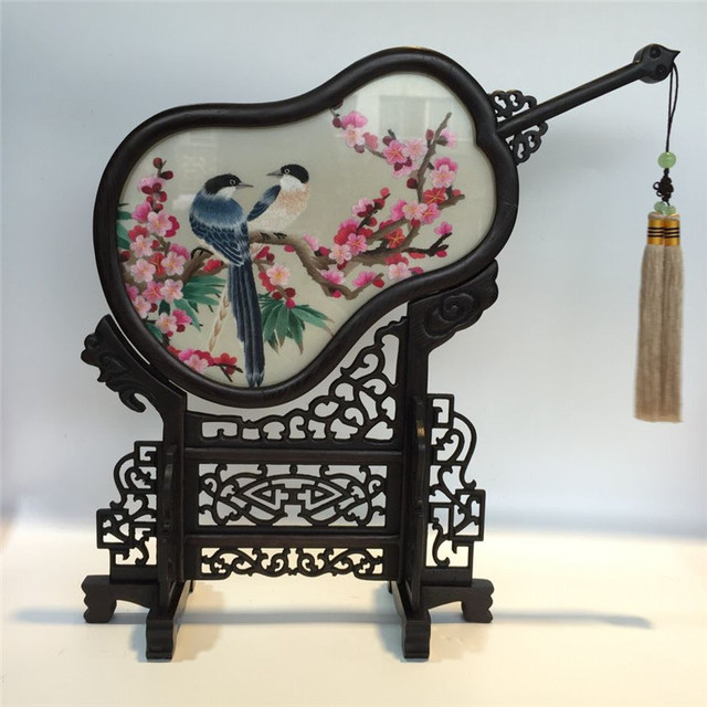 High End Home Decoration Table Screen Ornaments Chinese Mulberry Silk Handmade Double Side Embroidery Wenge Frame Crafts Gift