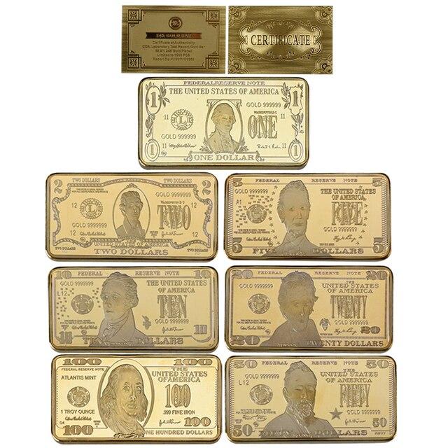 WR 24K Gold Bullion Fake Money Banknote Metal Crafts 7Pcs US Dollar Bar Replica Coin