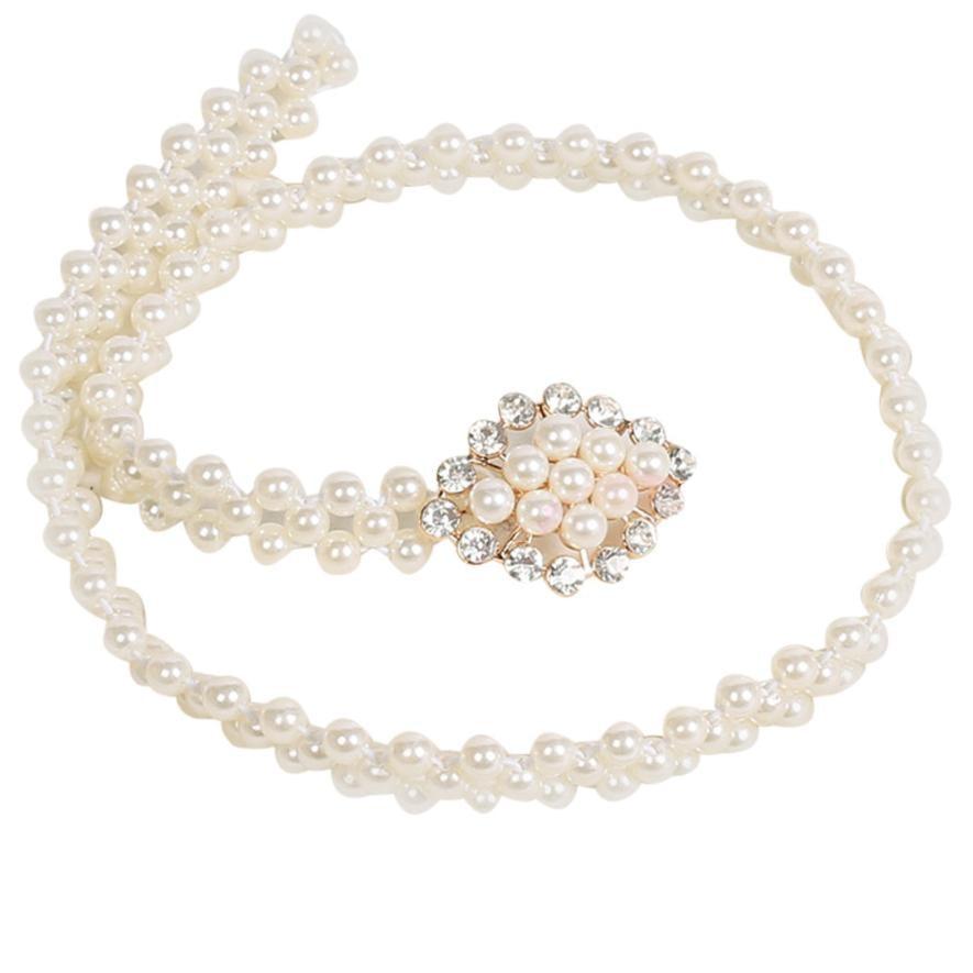 Women's lady fashion metal chain pearl style belt body chain imitation pearls vestidos cinturon floral mujer homens da correia