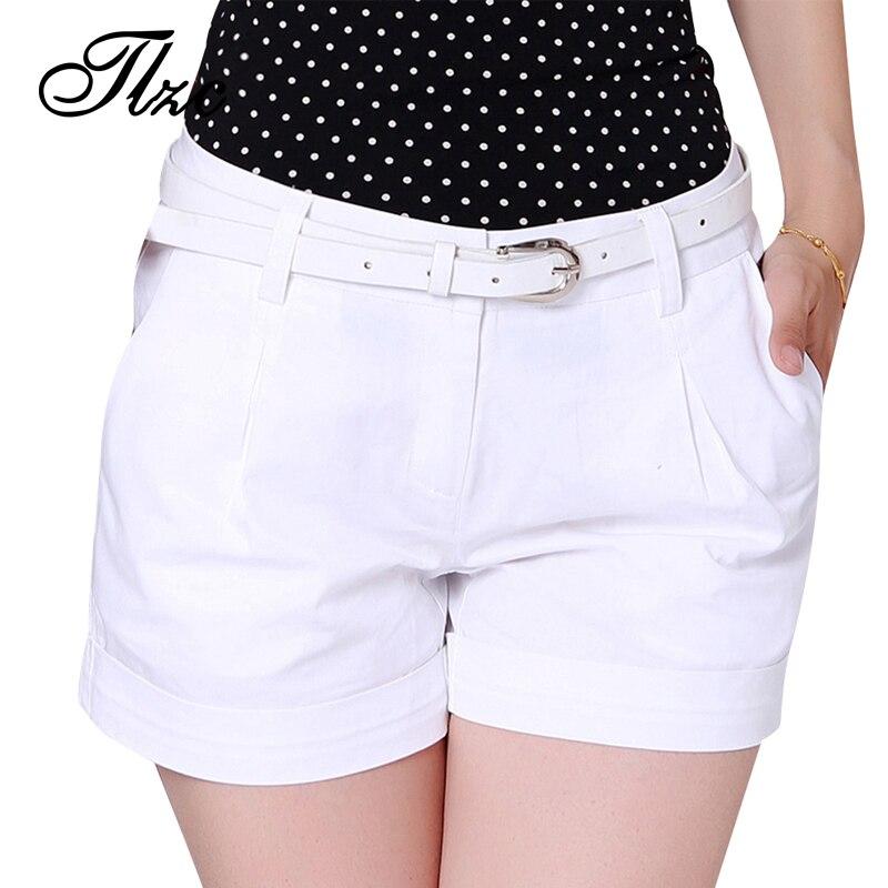 TLZC Korea Sommer Frau Baumwolle Shorts Größe S-3XL Neue Mode-Design Dame Beiläufige Kurze Hose Einfarbig Khaki/Weiß