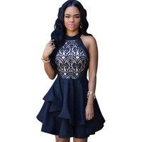 Sexy Kleid Club Tragen 2016 Frauen Vestidos Sommer Sleeveless Sexy schwarz Spitze Kurzkleid Ausschnitt Niedlichen Minikleid Reizvolle tragen