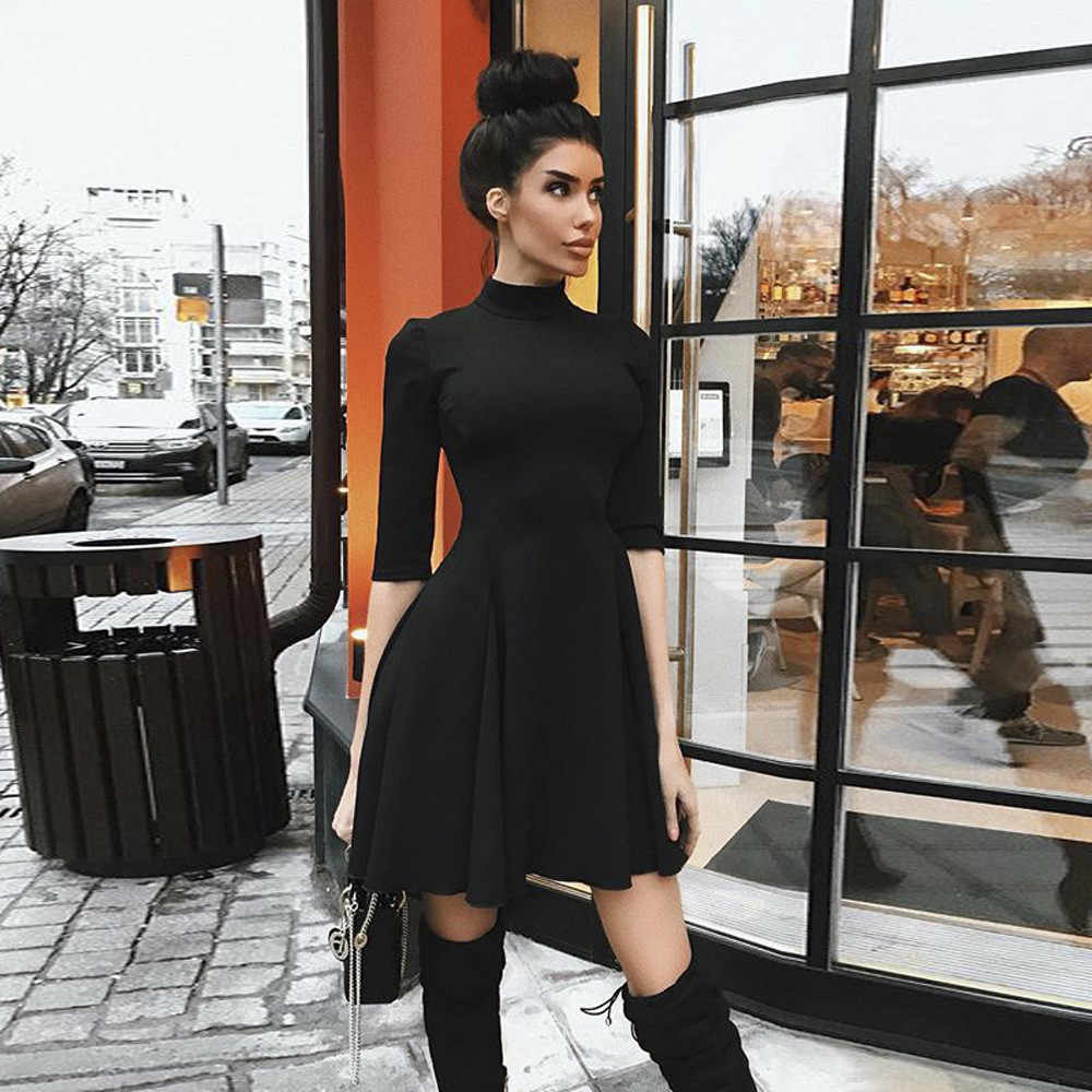 b03938224f11f female fashion sexy O Collar Party dress Cute Half Sleeve Casual high  quality Autumn Daily Solid slim dresses woman party night