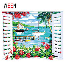 WEEN Window View Diy Painting By Numbers Abstract Beach Boat Oil On Canvas Flower Cuadros Decoracion Acrylic Home Decor