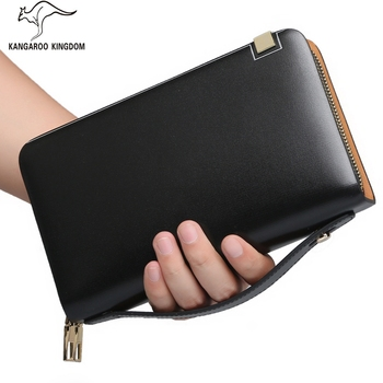 Kangaroo Kingdom Famous Brand Men Clutch Bags Leather Double Zipper Clutches Large Capacity Handbag