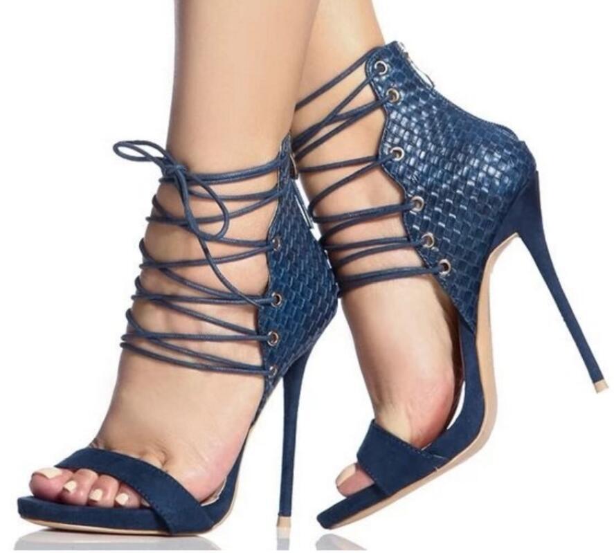Vestido Sandalias Zapatos Negro De Tacón Pie Encaje Cruz Sexy La 2019 Dedo Moda azul Mujeres Del Correa Gladiador Las Alto Fiesta zXHqS