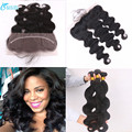 "13""*4"" ear to ear lace frontal closure with bundles cheap 7A body wave virgin brazilian hair 2/3 bundles human hair with closure"