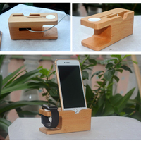 Universal Wood Bamboo Charging Dock Charge Station Holder Stand Mount For Apple Watch 38mm 42mm IPhone