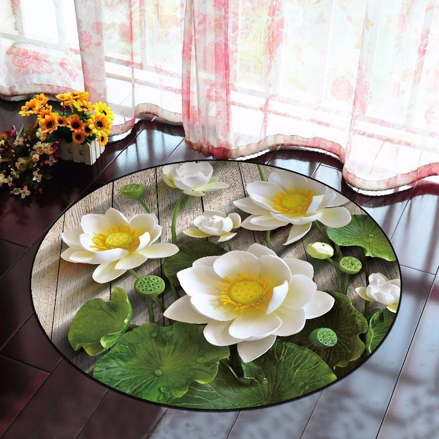 3D Lotus tapis rond pour salon salon salon chambre chaise tapis classique décoration de la maison antidérapant toilette tapis de bain alfombra tapis