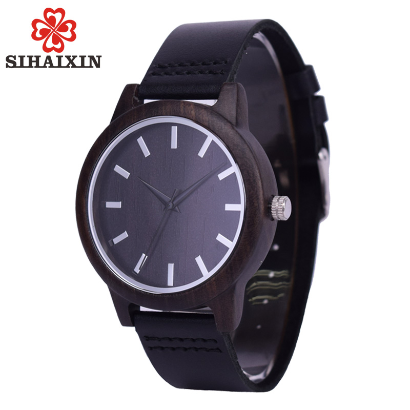 SIHAIXIN Black Watches For Ladies Men Wood Wrist Watch Top Brand Luxury Bamboo Leather Quartz Female Male Clock Dropshipping цена