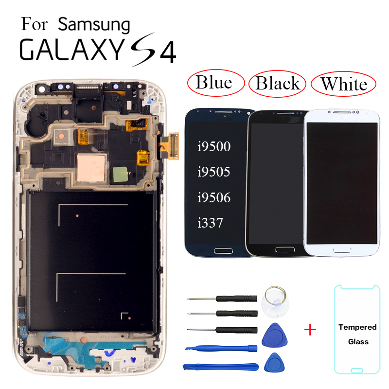 AMOLED For <font><b>Samsung</b></font> <font><b>Galaxy</b></font> <font><b>S4</b></font> <font><b>i9500</b></font> i9505 i9506 i9515 i337 LCD Display <font><b>Touch</b></font> <font><b>Screen</b></font> Digitizer Assembly replacement with frame image