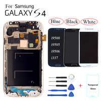 AMOLED do Samsung Galaxy S4 i9500 i9505 i9506 i9515 i337 wyświetlacz LCD montaż digitizera ekranu dotykowego wymiana z ramką