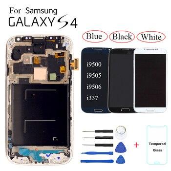 455e16243e8 AMOLED para Samsung Galaxy S4 i9500 i9505 i9506 i9515 i337 pantalla LCD de pantalla  táctil digitalizador Asamblea reemplazo con marco