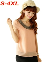 S 4XL Plus Size Chiffon Blouse Women 9 Colors Summer Style Beading Petal Sleeve Lined Casual