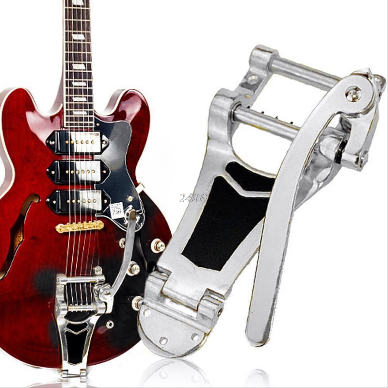 Tremolo Vibrato Bridge Tailpiece Hollowbody Archtop For Guitar Chrome JUL20_25 2pcs ns 02 chrome trapeze short 6 string tailpiece bridge for bass