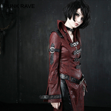 PUNK RAVE Gothic Dark Sexy Ladies PU Leather Corset Coat Punk Rock Patchwork Red Black Long Sleeve Stand-collar Women Jacket