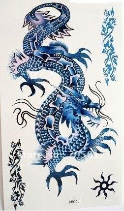 exp dition dragon chinois tatouage bleu gratuit autocollants tatouages temporaires 10pcs fake. Black Bedroom Furniture Sets. Home Design Ideas