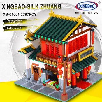 XingBao 01001 Blocks 2787Pcs Block Creative Chinese Style The Chinese Silk and Satin Store Set Building Blocks Bricks Toys Model