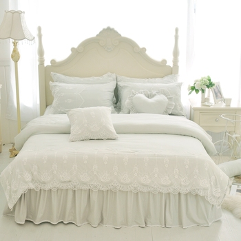 4/7Pcs Princess style luxury bedding sets queen king size duvet cover set bed skirt set pillowcase silk+cotton+lace bedclothes