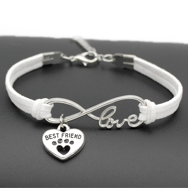 Custom Antique Silver Cute Pets Dog S Paw Heart Charm Infinity Love Bracelets Unique Dogs