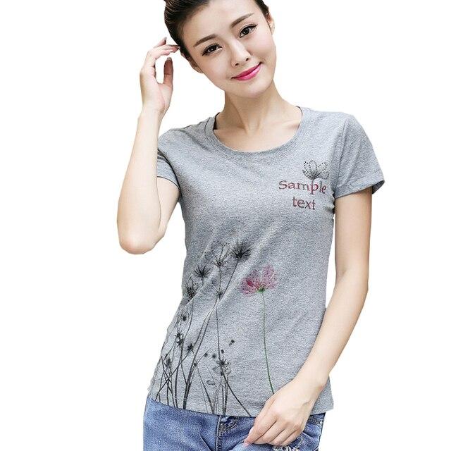 Diamonds Imprimir Floral T Shirt Mulheres de Slim Tops Voltar Renda Patchwork T-Shirt Ocasional do Algodão do Verão 2017 Coreano Camiseta Vetement Femme