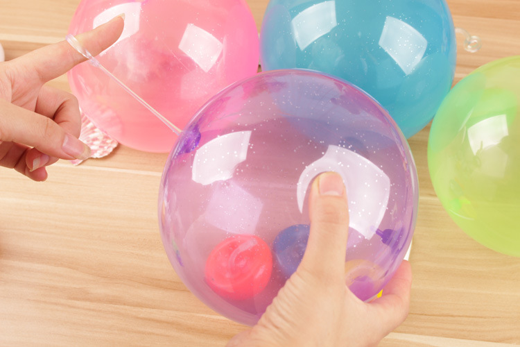 6bag Plastic bag package Tiny bubble Balloon toy 30-40cm after Inflation outdoor play TPR sugar color wubble ball kids gift d11