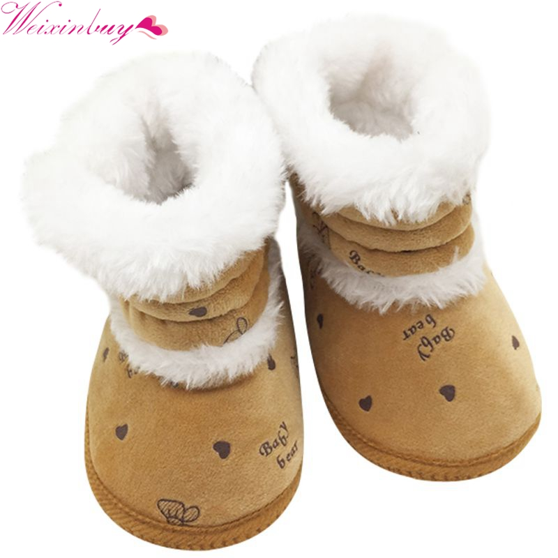Hot Sale Winter Baby Boots Warm First Walkers Infant Shoes Toddler Non Slip Soft Sole Crib Shoes 0-18M 18