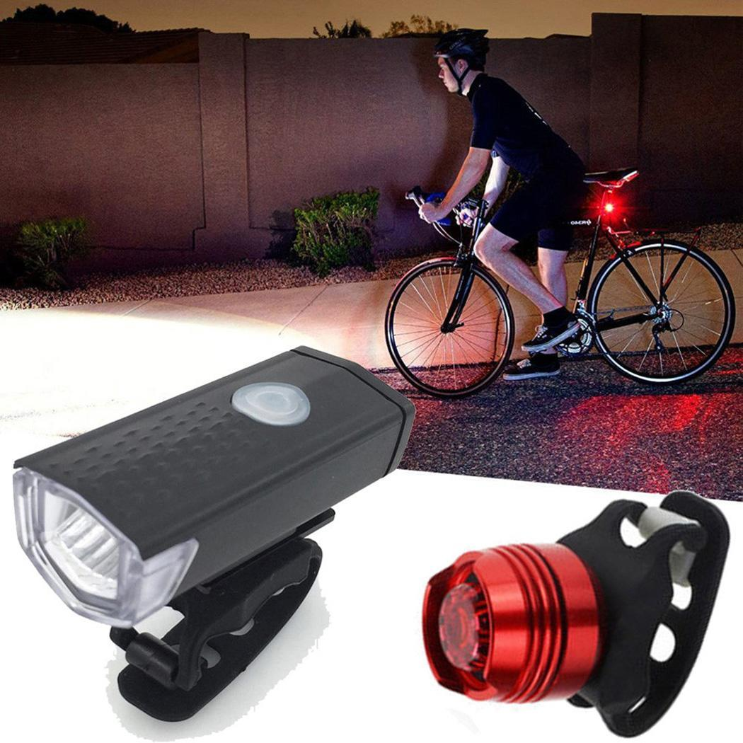 USB Bicycle Led Light Night Bike Rechargeable Headlight /& Taillight Set
