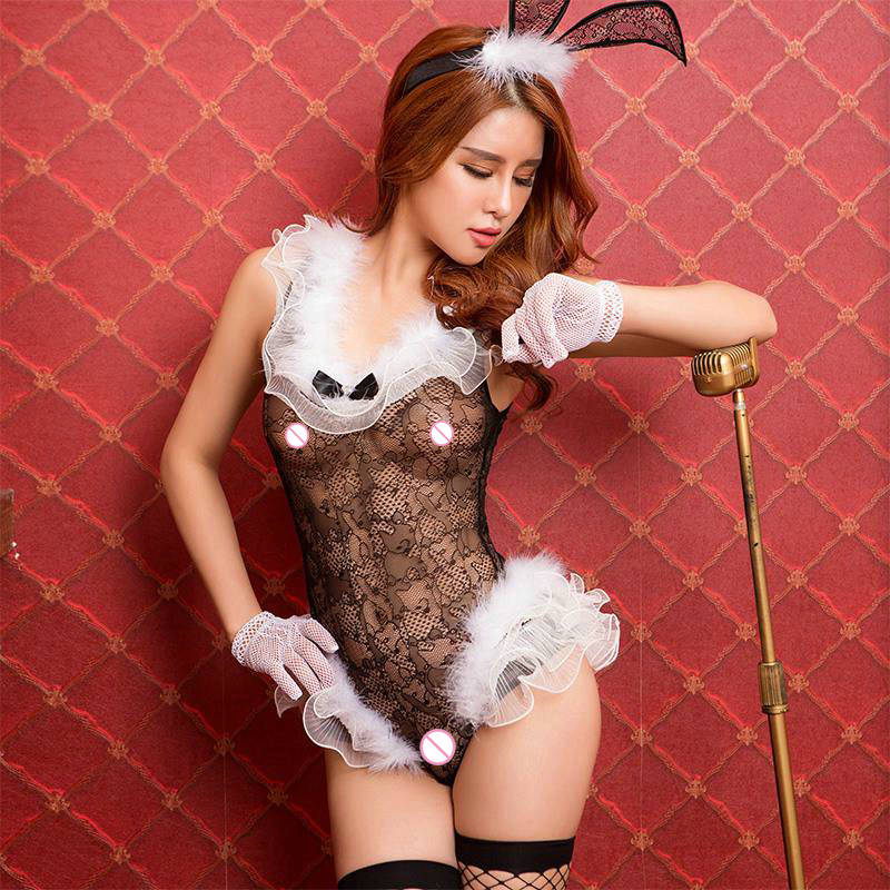 sexy bunny costumes lace teddy bodysuit decorated feather erotic babydoll lingerie sexy underwear for women 6265