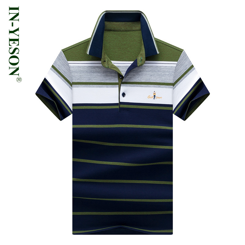2018 Summer Striped   Polo   Shirt Men Embroidery Blue Green Casual & Business Style Men top   polo