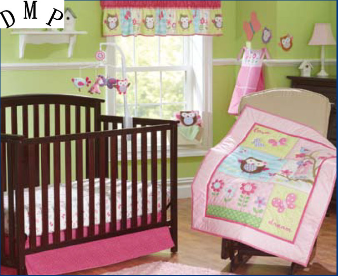 Promotion! 7PCS Appliqued Baby Cot Crib Bedding Set For Girl Comforter,include(bumper+duvet+bed Cover+bed Skirt)