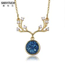 ShinyGem Antlers Druzy Stone Necklace Gold Plating Big Antlers Pendant Necklace Unique Design Gold Chain Long Necklace For Women original design g9k gold baroque big pearl long necklace sweater chain fine pendant necklace for women and girl high end luxury