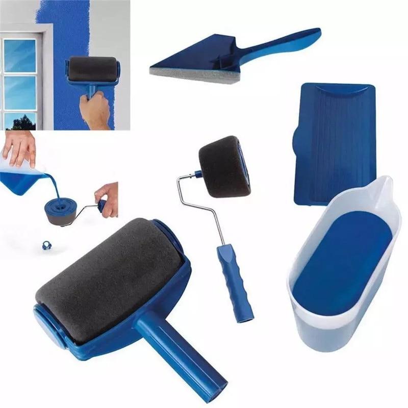 8Pcs Seamless paint roller pro brush set For Home Handle Tool Flocked Edger Office Wall Painting Runner Paint Brush Kit 35