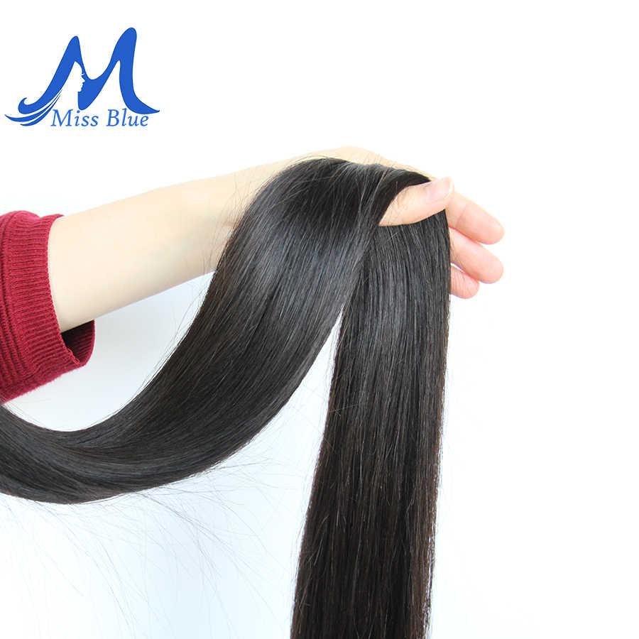 Missblue 8-34 36 38 40 Inç Brezilyalı Saç Örgü Demetleri Düz % 100% İnsan Saç 3/4 Demetleri Doğal Renk remy saç ekleme