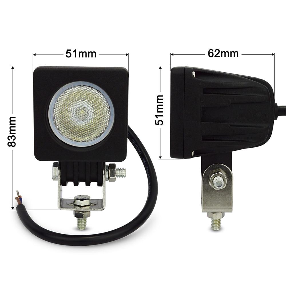 1 개 2 ''LED 10 와트 작업 램프 800LM 스팟 홍수 빔 작업 - 자동차 조명 - 사진 5