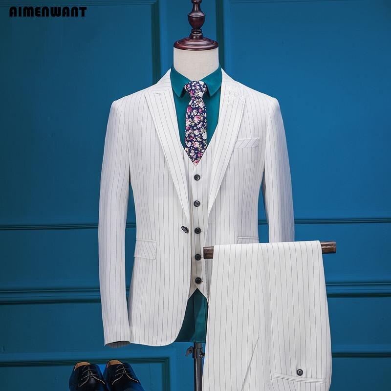 AIMENWANT Tailor Made herren Anzug 3 stück Europa Sanfte Mann Weiß Gestreiften Anzüge Trauzeuge Hochzeit Blazer Anpassen Größe Anzug sets-in Anzüge aus Herrenbekleidung bei  Gruppe 1