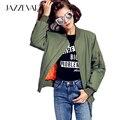 Calle de JAZZEVAR 2016 Nueva otoño invierno moda chaqueta de bombardero zipper básico chaqueta cusual algodón acolchado ropa de abrigo verde