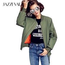 JAZZEVAR 2016 Новый осень зима уличной моды бомбардировщик куртка женщин молния основные куртка cusual хлопок стеганый зеленый верхняя одежда(China (Mainland))
