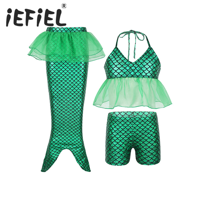 Bodysuits & One-pieces Rompers Modest Kids Girls Little Mermaid Swimwear Costume Set Shiny Ruffled Halter Tops With Shorts Mermaid Tail Bikini Swimsuit Bathing Suit
