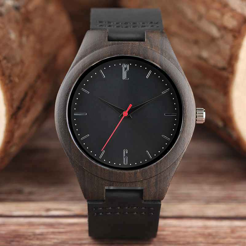 2018 Mens Natural Ebony Wood Bamboo Watches Minimalist Retro Black Sports Quartz Wrtistwatch Genuine Leather relogio de Madeira classic style natural bamboo wood watches analog ladies womens quartz watch simple genuine leather relojes mujer marca de lujo