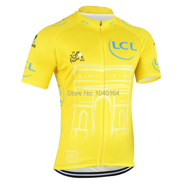 35c07b5ee tour de france Team cycling jersey short sleeve ropa ciclismo cycling  clothing 2015 yellow