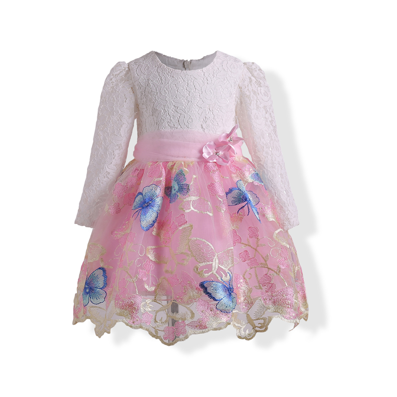Embroidery Butterfly Dress Girls Long Sleeve Kids Clothes Wedding Party Princess Costume Dress Girl Formal Evening Prom Gown long hair princess sofia dress warm butterfly purple performance evening party chrismas new year girls costumes kid clothes