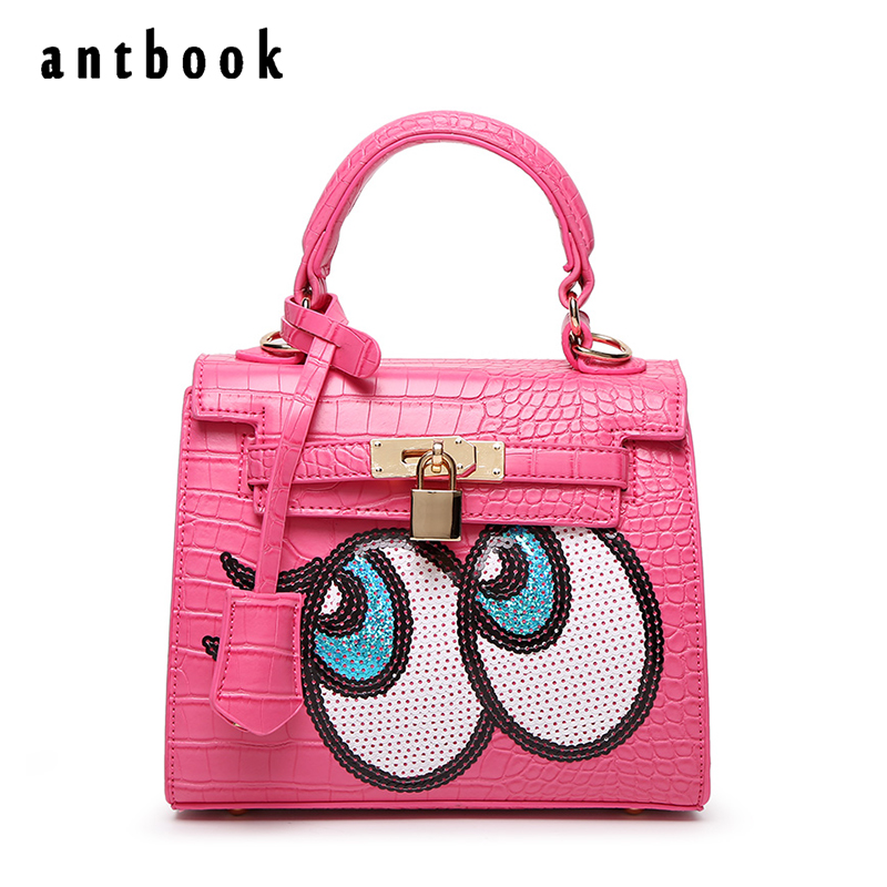 Fashion New 2017 designers Cute Big eyes sequins Girls small shoulder bag women crossbody messenger bags bolsa feminina handbag