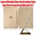 50 unids/lote dhl libre cubierta elegante para el ipad air ipad mini ipad 4/3/2 lujo ultrafinos delgado luz borrar back case de cuero n °: I509