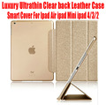 50pcs/Lot DHL Free Smart Cover For Ipad Air ipad Mini ipad 4/3/2 Luxury Ultrathin Slim Light Clear back Leather Case NO: I509