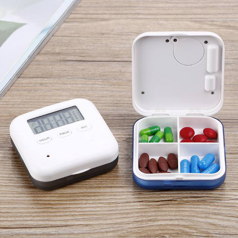 New alarm clock timing 4 grid electronic pill box portable drug dispensing box