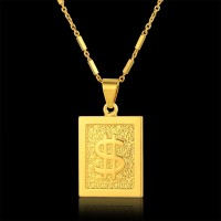 America Style Gold Pendant Necklace Hip Hop Chain Men Women Jewelry Gold Color Fashion Colliers Jewellery