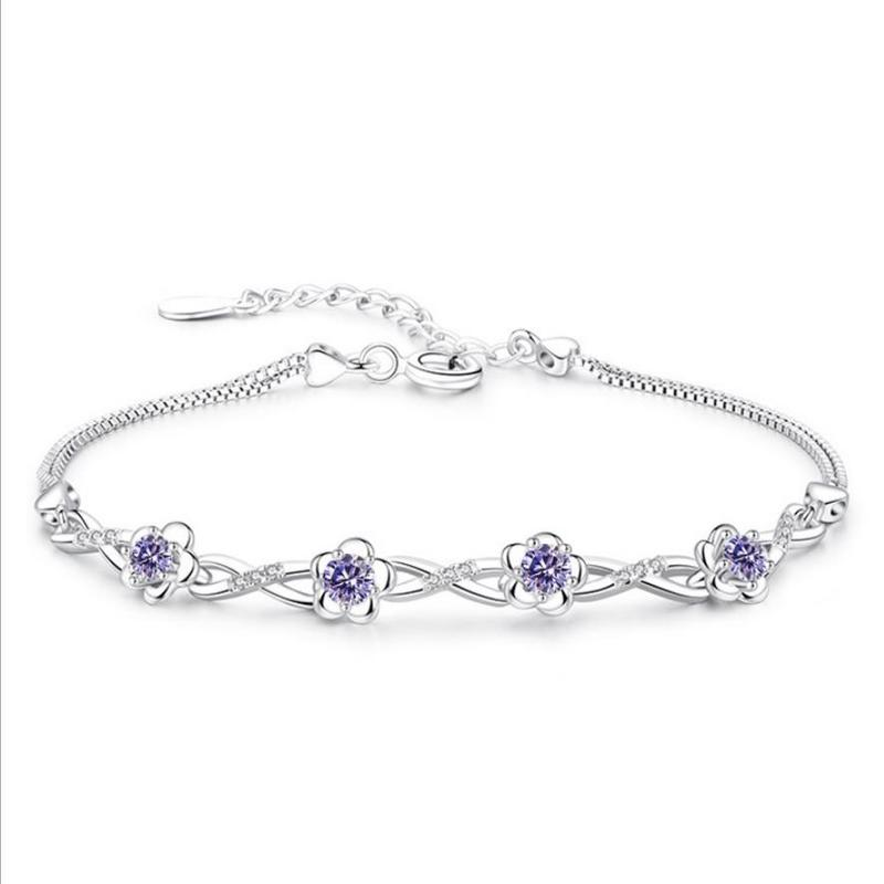 Everoyal Exquisite Zircon Purple Flower Bracelets Female Accessories Fashion Lady 925 Silver Jewelry Girls Birthday