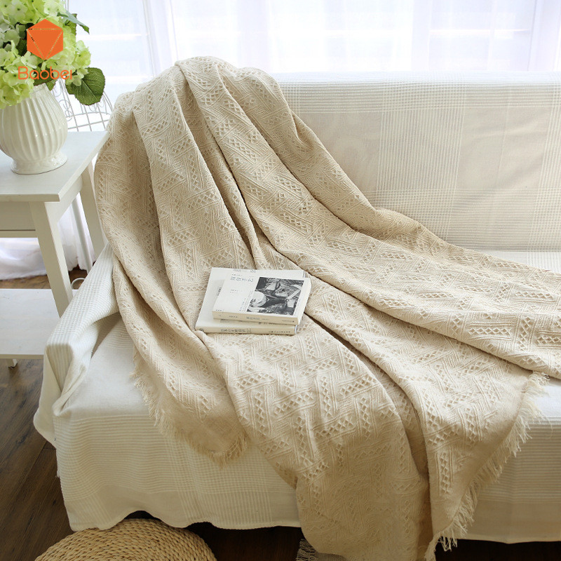 Solid color blanket sofa decorative slipcover Throws on Sofa/Bed/Plane Travel Plaids Rectangular color stitching Blanket SF18
