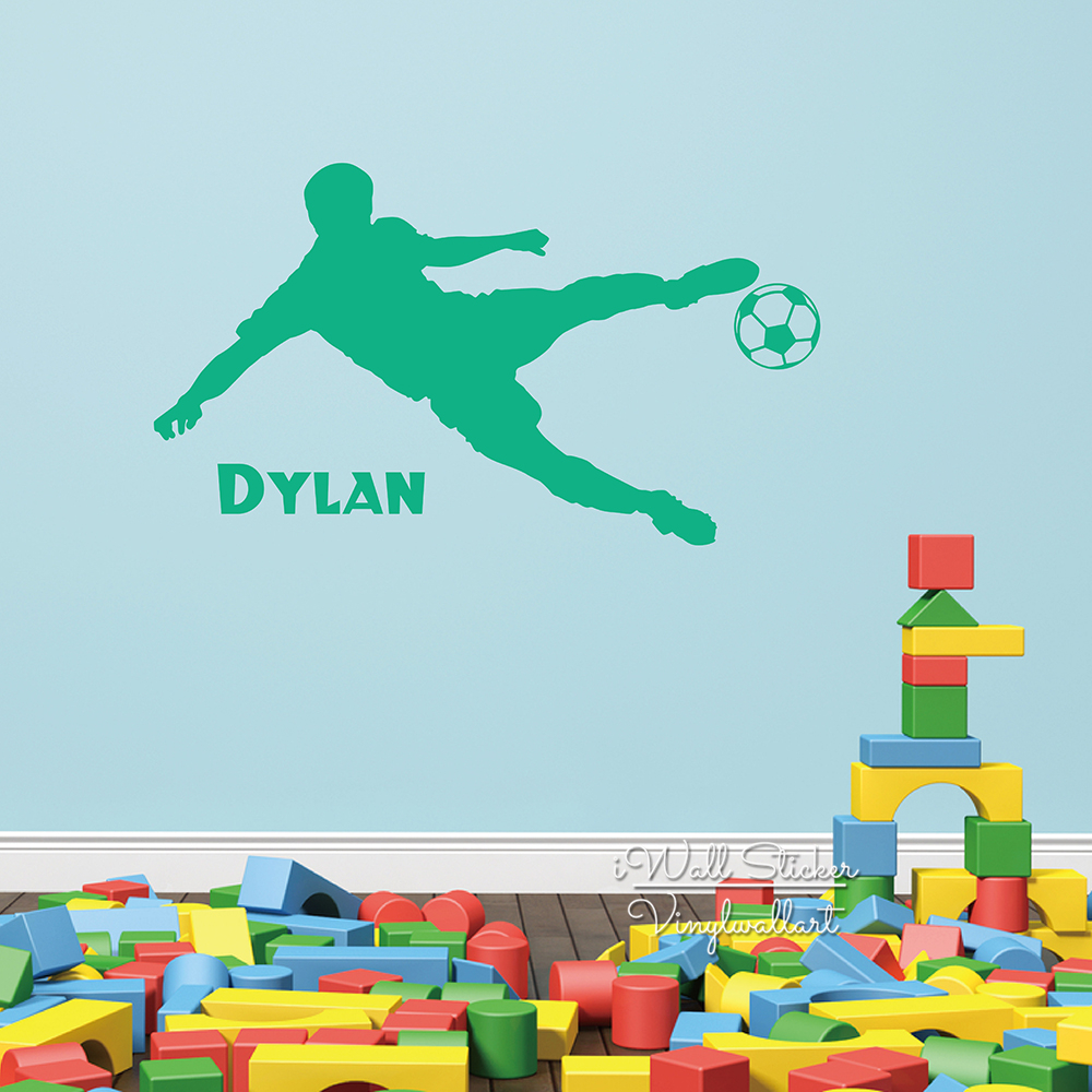 Baby Nursery Boys Name Wall Sticker Football Player Name Wall Decal Boys Name Stickers For Kids Room Cut Vinyl Stickers C23