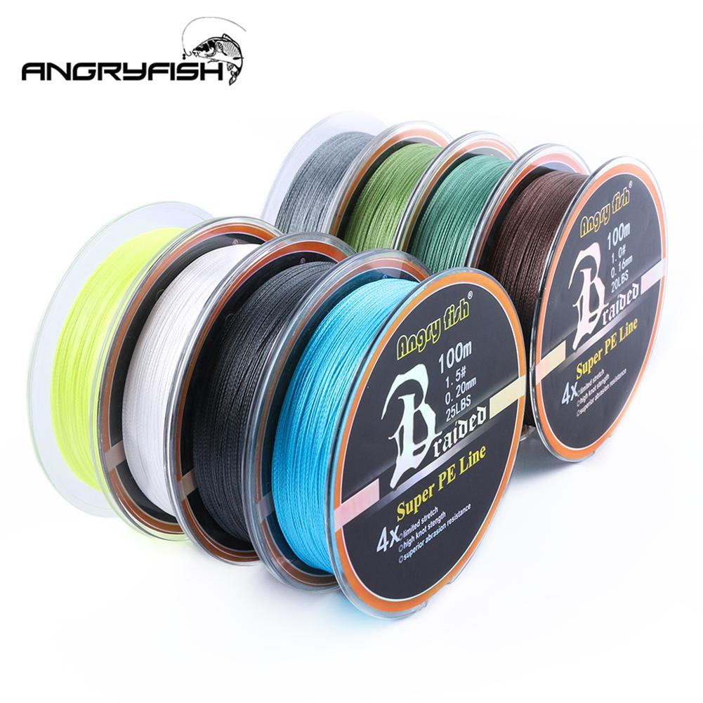 HobbyLane ANGRYFISH Diominate PE line 4 Strands Braided Fishing Line Braided 100m/109yds Super Strong Fishing Line 10LB-80LB